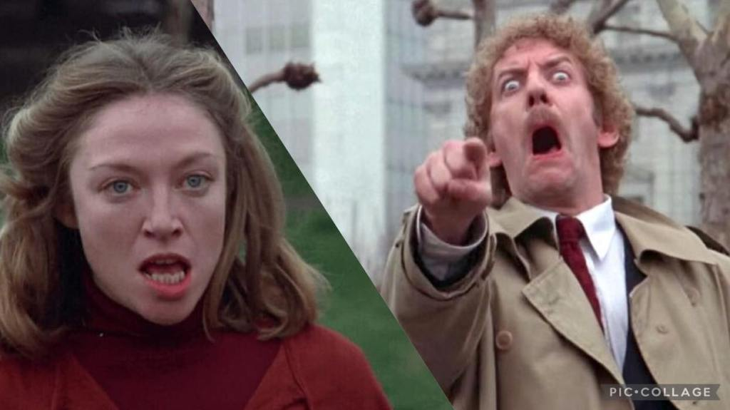 Veronica Cartwright and Donald Sutherland in Invasion Of The Body Snatchers